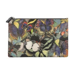 Valentino Zipped Pouch Camubutterfly Printed Canvas Large