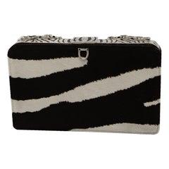 Valentino's Zebra Print Exotic Rhinestone Enamel Hand Bag