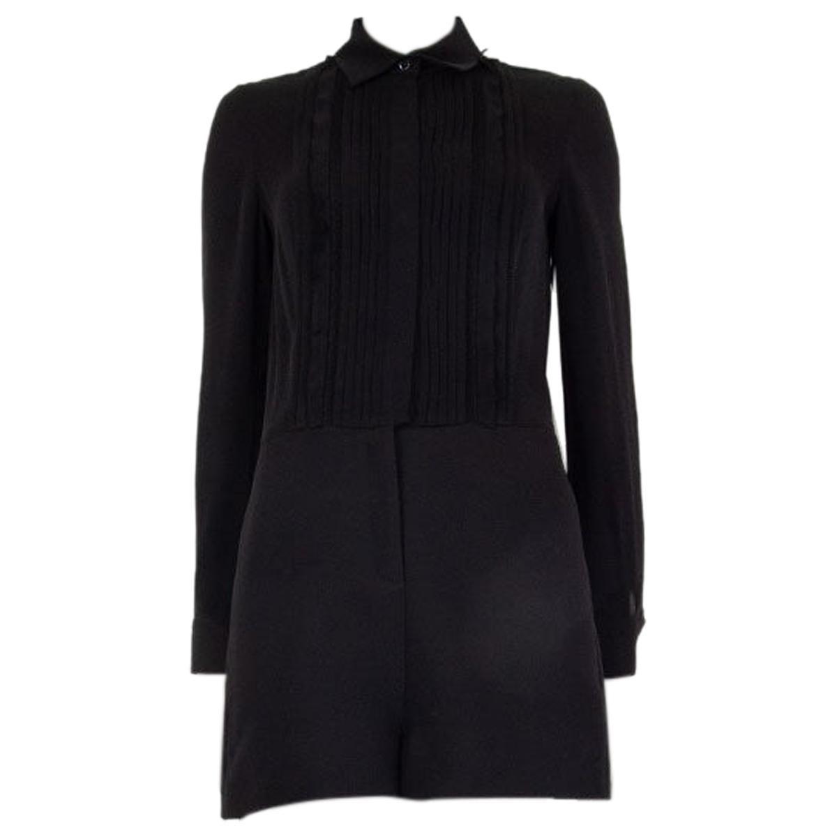 VALENTION black wool & silk PLEATED Long Sleeve Jumpsuit Romper 40 S