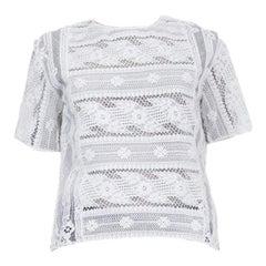 VALENTION white viscose LACE Short Sleeve Shirt Blouse 40 S