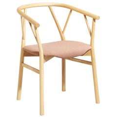 Valerie Armchair with Coral Seat and Wood Base, by Giopato & Coombes