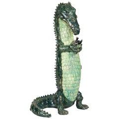 Valérie Courtet, Crocodile and Bird, Glazed Stoneware Sculpture