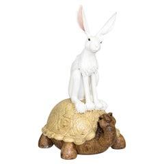Valérie Courtet, Rabbit and Tortoise, Glazed Stoneware Sculpture