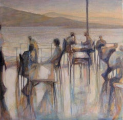 Waterside I by Valérie de Sarrieu -  landscape at sunset, painting, contemporary