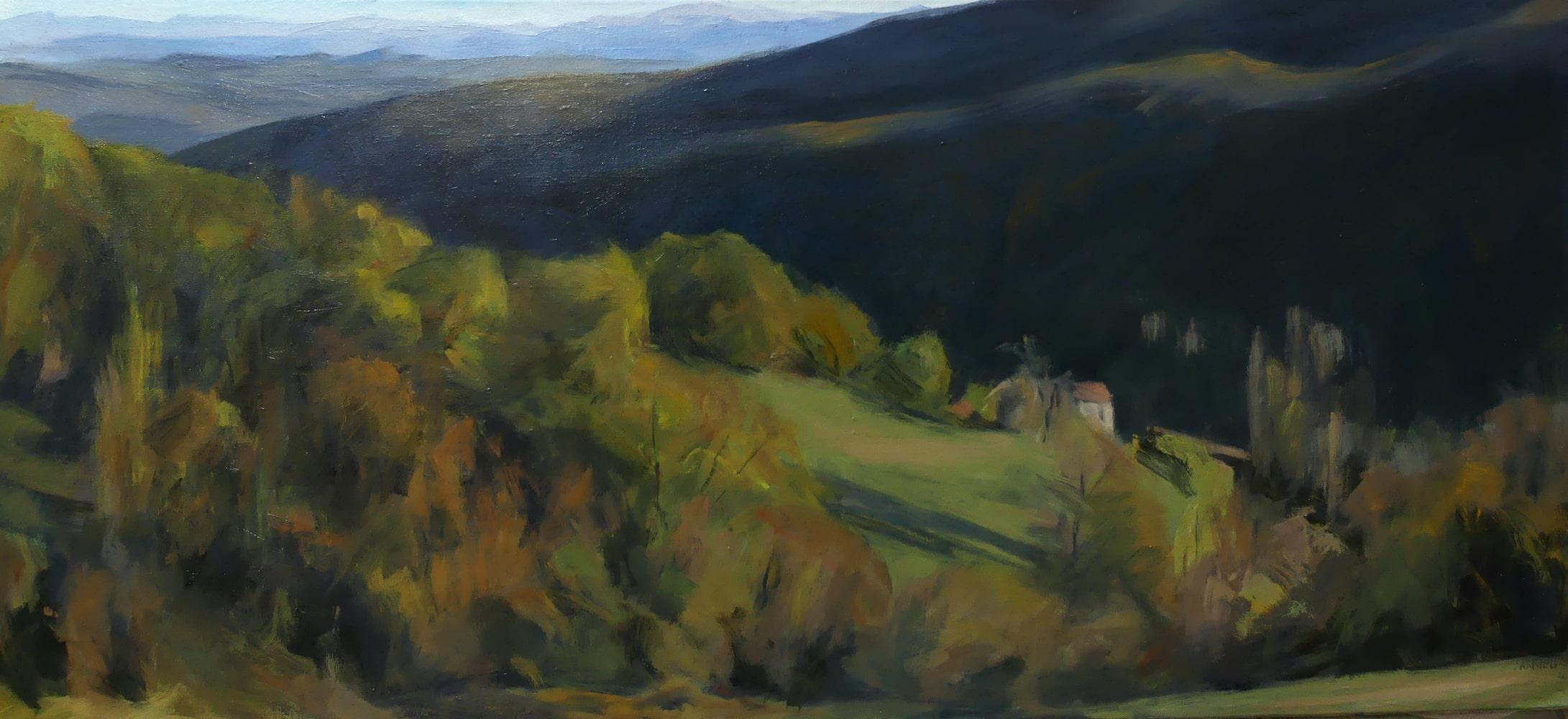 Woods of Auzas - contemporary landscape painting, Occitanie, Southern France