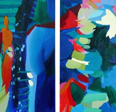 Amazed. Diptych., Painting, Acrylic on Canvas