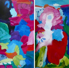 Approaching Center Diptych, Painting, Acrylic on Canvas
