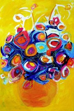 Sunshine Bouquet, Painting, Acrylic on Wood Panel