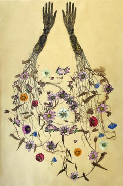 Traces 32 (Whimsical Mixed Media Drawing of Hands Trailing Botanicals and Vines)