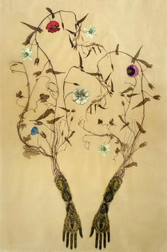 Traces 51 (Whimsical Mixed Media Drawing of Hands Trailing Botanicals and Vines)