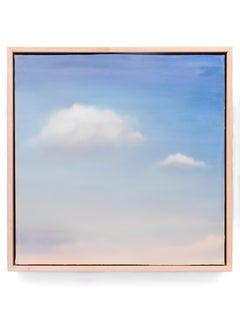 Untitled I (Dreamy Blue Sky with two clouds, encaustic and oil on panel)