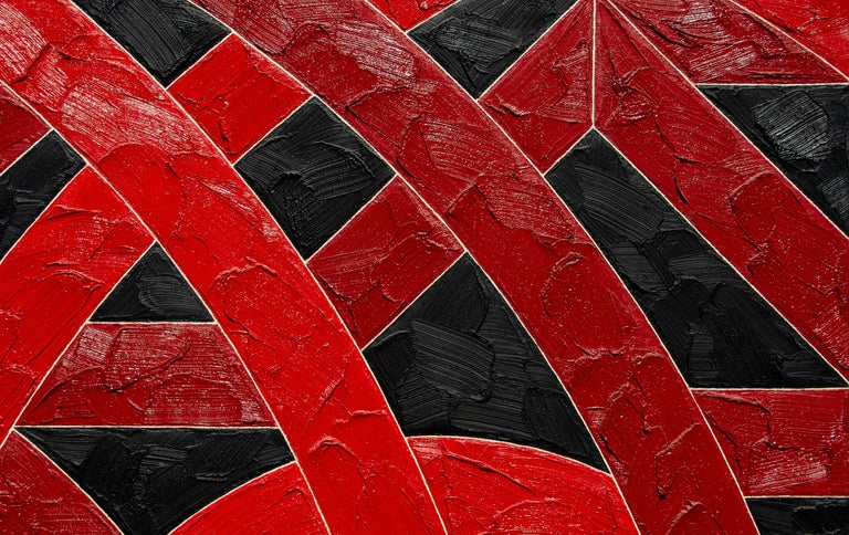 Palmyra - Red Abstract Painting by Valerie Jaudon