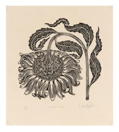 """""""Bowing Flower"""" - Sunflower Black and White Woodcut Print"""