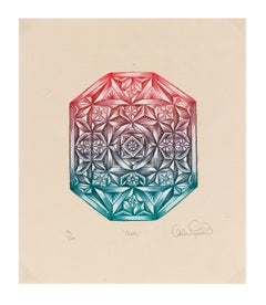 """""""Jewel"""" - Small Color Woodcut Print of Faceted Jewel"""