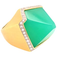Valerie Naifeh 17.36 Carat Green Chrysoprase Diamond Ring