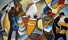 Temps pour le Jazz, Painting, Oil on Canvas