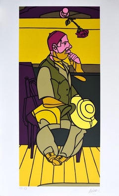 A Man with a Rose - Original Screen Print by Valerio Adami - 1990s