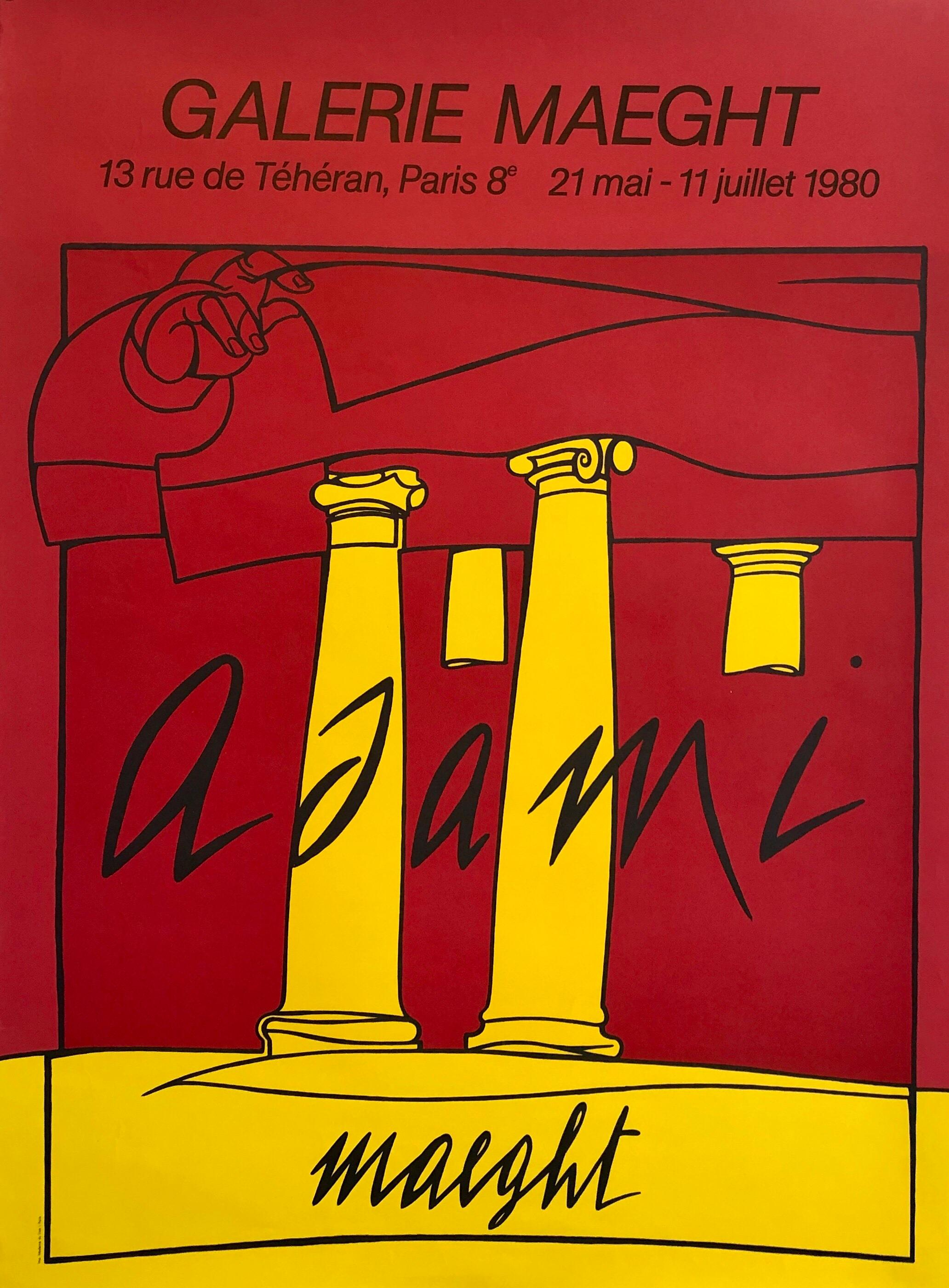 Italian Post Modern Pop Art Lithograph Vintage Poster Memphis Galerie Maeght