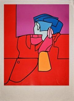 Red Guard - Original Screen Print by Valerio Adami - Late 1960s