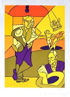The Circus - Original Screen Print by Valerio Adami - 1990s