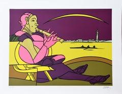The Flageolet - Original Screen Print by Valerio Adami - 1990