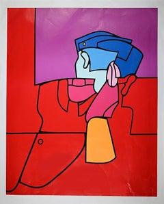 The Red Guard - Original Screen Print by Valerio Adami - 1974