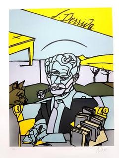 Valerio Adami - Jacques Derrida - Original Signed Lithograph