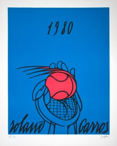 "Valerio Adami-Roland Garros French Open (Blue)-34"" x 26""-Lithograph-1980"