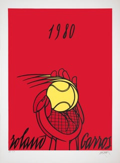 """Valerio Adami-Roland Garros French Open (Red)-34"""" x 26""""-Lithograph-1980"""