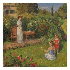 Valeriy Krilatov Oil on Canvas Garden Scene Original Frame, Russia, circa 1960