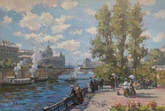"""Promenade à Paris"" oil on canvas in the impressionist style"