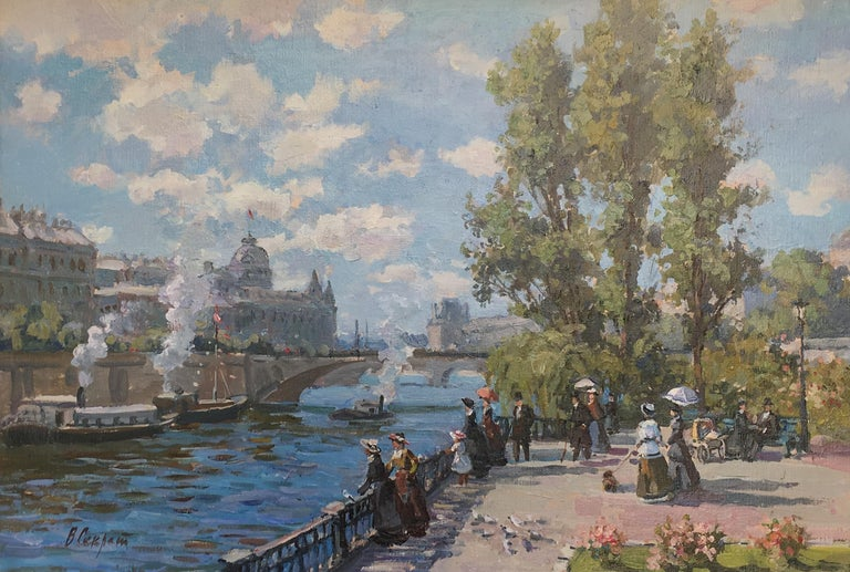 """Promenade à Paris"" oil on canvas in the impressionist style 1"