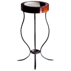 Valet Stand Side Table in Mixed-Media, Exotic Wood, Forged Steel and Ceramics
