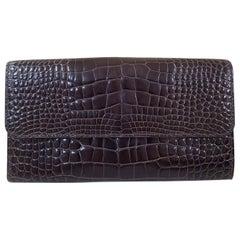 Valextra Brown Crocodile Wallet