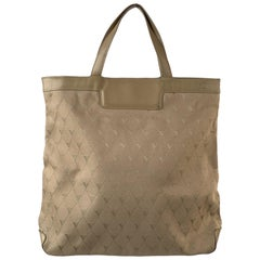 Valextra Vintage Beige Logo Canvas Tote Shopping Bag