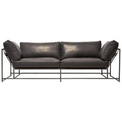 Valhalla Granite Leather and Blackened Steel Two-Seat Sofa