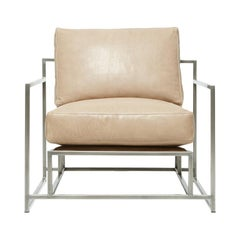 Valhalla Pecan Leather and Antique Nickel Armchair