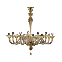 Valiant 5507 12 Chandelier in Gold Glass, by Barovier&Toso