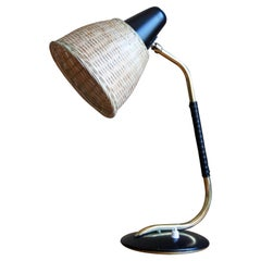 Valinte Oy, Table Lamp, Brass, Lacquered Metal, Rubber, Rattan, Finland, 1940s