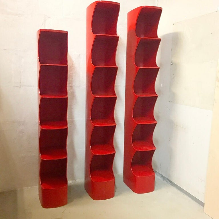 French Valirie Dubrocinskis Set of Three Space Age Bookcases by Rodier, France 1970 For Sale