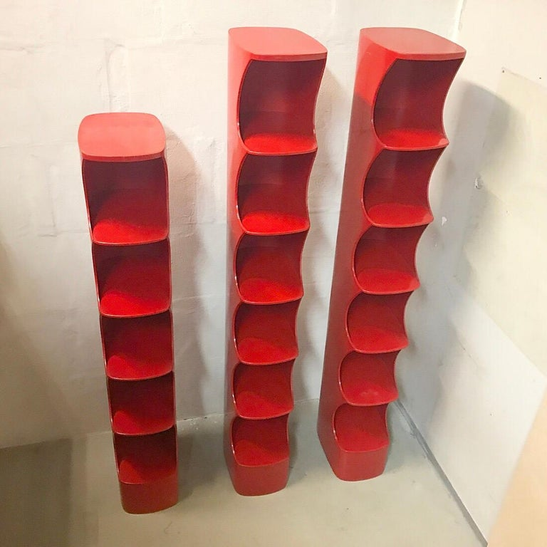 Valirie Dubrocinskis Set of Three Space Age Bookcases by Rodier, France 1970 In Good Condition For Sale In Haderslev, DK
