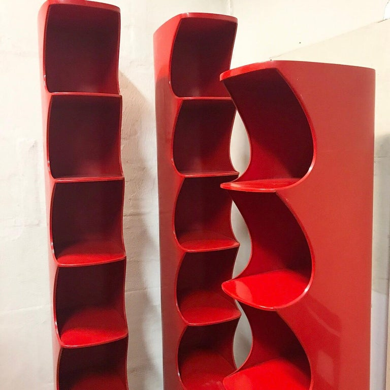 Late 20th Century Valirie Dubrocinskis Set of Three Space Age Bookcases by Rodier, France 1970 For Sale