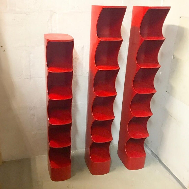 Valirie Dubrocinskis Set of Three Space Age Bookcases by Rodier, France 1970 For Sale 2