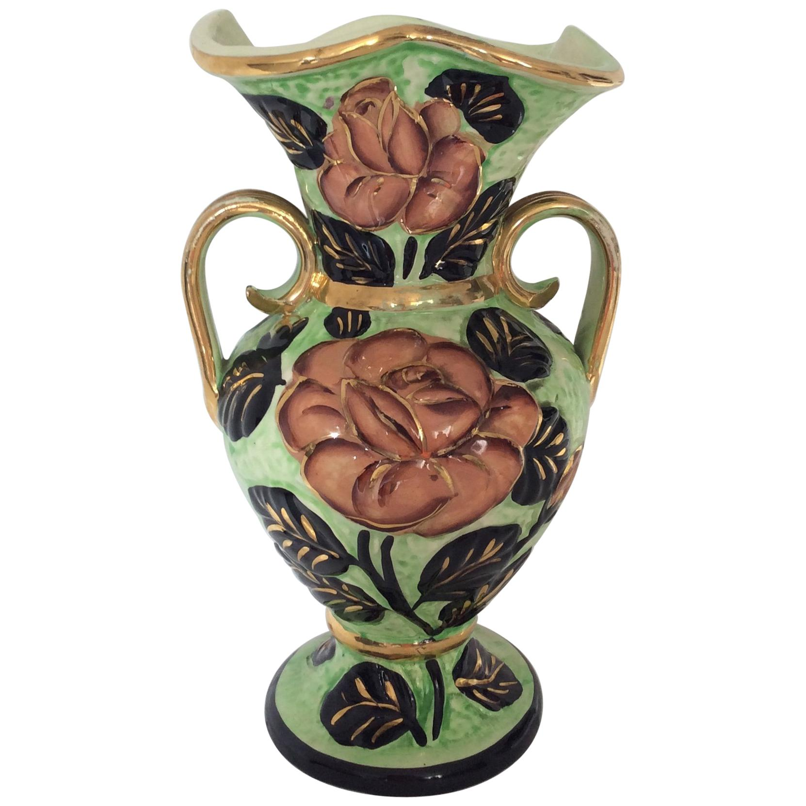 Hand-Painted Ceramic Flower Vase from Vallauris France