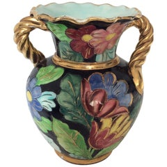 Midcentury Vallauris Ceramic Flowered Vase with Rope Shaped Handles