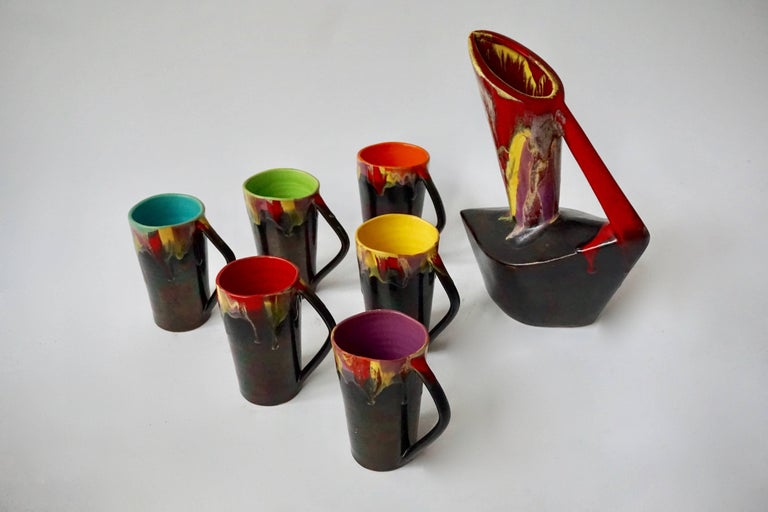 Hollywood Regency Vallauris Ceramic Pitcher with Six Cups, France, 1950s For Sale