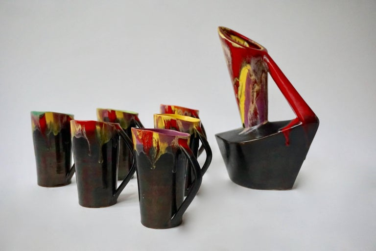 20th Century Vallauris Ceramic Pitcher with Six Cups, France, 1950s For Sale