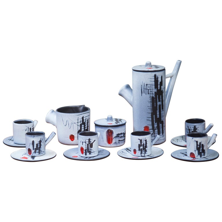 Vallauris Ceramic Tea Set France, 1960 For Sale