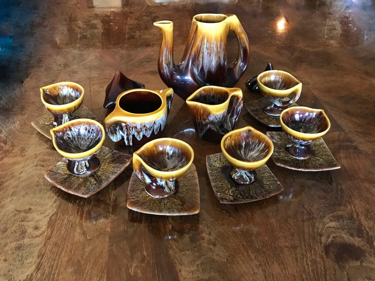 Vallauris Coffee Set Yellow Brown Ceramic, France, 1950 For Sale 11