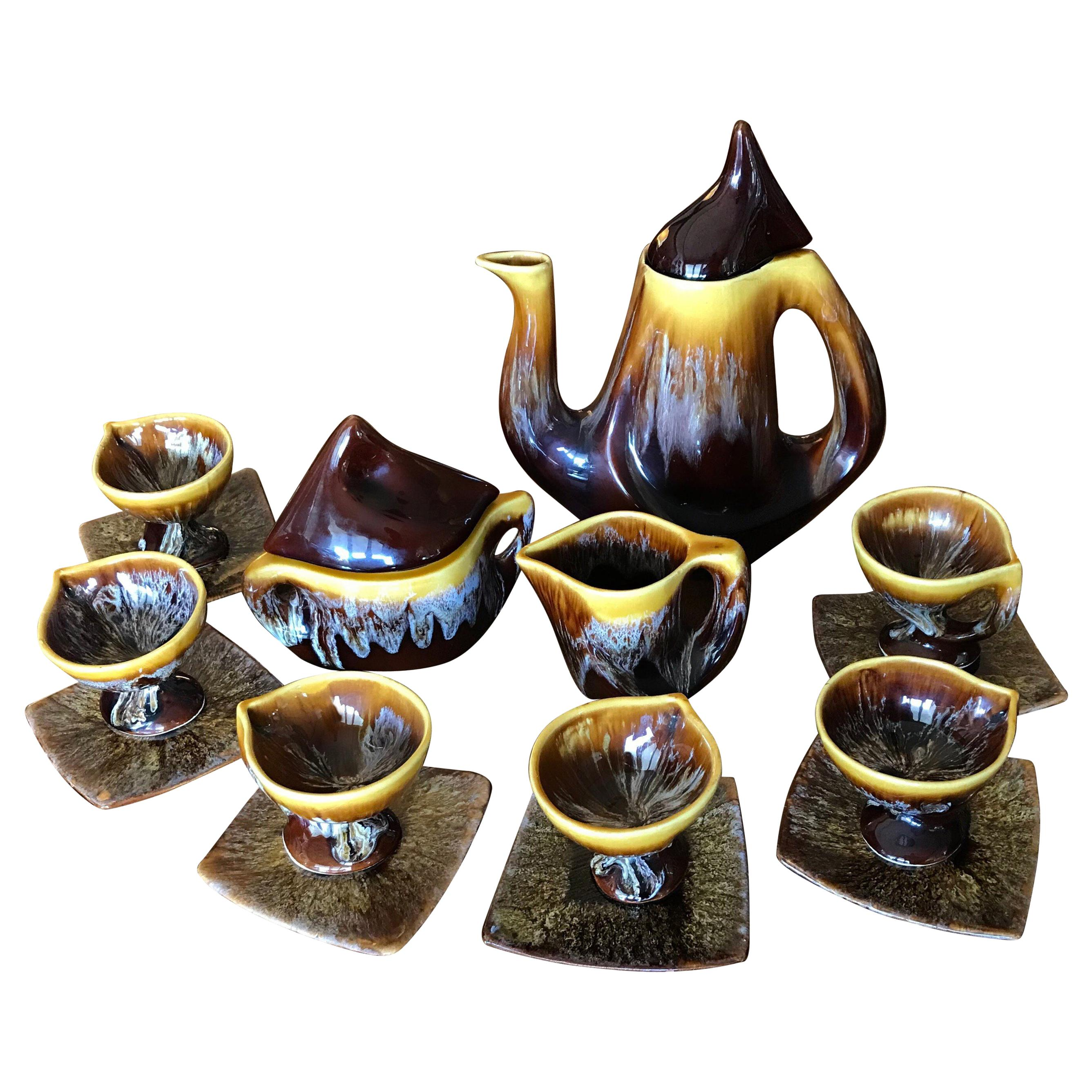 Vallauris Coffee Set Yellow Brown Ceramic, Mid-Century Modern, France, 1950